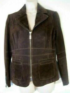 New Bernardo Womens size Medium Dark Brown Suede Leather Jacket Zip front