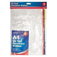Pack of 4 A4 Zip Seal Document Wallets Waterproof Bags Clear Transparent School