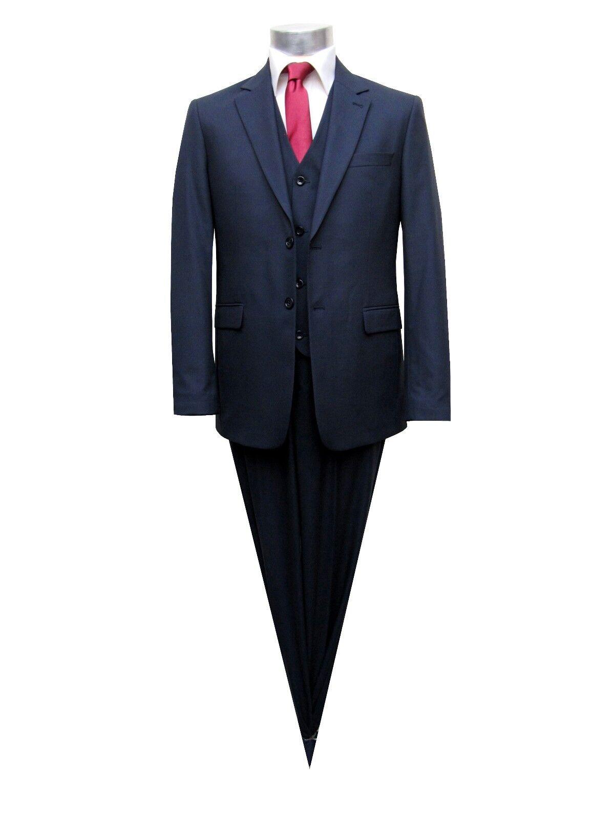 Herren Anzug 3-teilig Slim-fit Gr.56 Navyblau