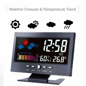 Details about  /Digital LCD Screen Alarm Clock Calendar Thermometer Weather Color Display