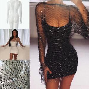 Women-Fishnet-Bling-Diamante-Dress-Crystal-Beach-Dress-Mesh-Cover-Up-Beachwear