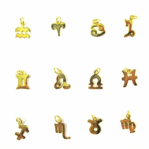 Vermeil Sterling Silver Horoscope Charms-Gold over Silver Zodiac Sign Charm-2 pc