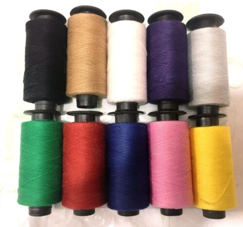 Set Of 10 x Cotton Sewing Thread Spools Assorted Colors New Collecion UK