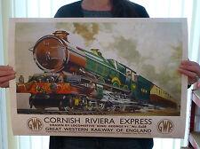 Vintage Railway Travel Poster - Train Cornwall Cornish Riviera GWR - A2
