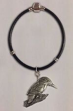 code B5 Kingfisher charm on a silver Faux Leather Snake Bracelet