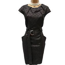 KAREN MILLEN Black Folded Jacquard Sparkle Cocktail Evening Wiggle Dress 16-14UK