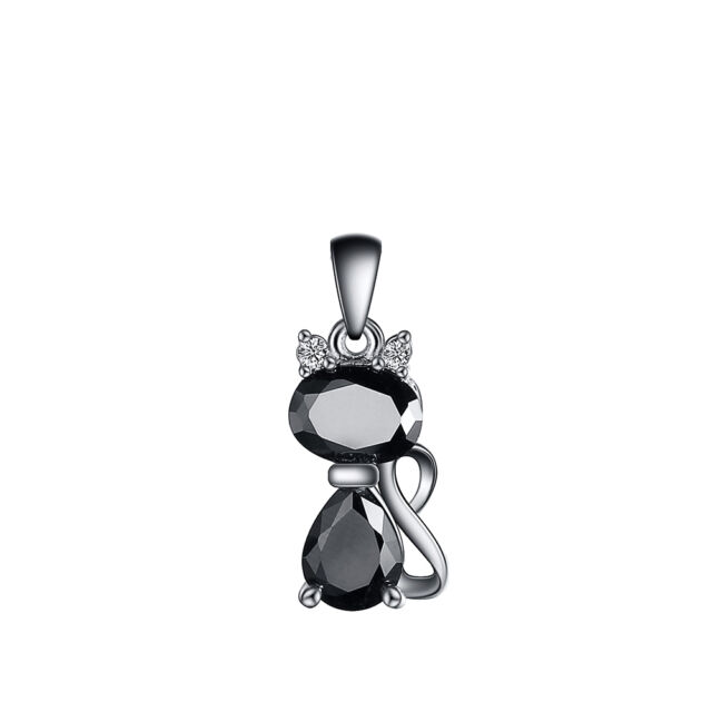 Collier Pendentif Cute Cat Plated S925 Silver Zircon Pendant Necklace Jewelry