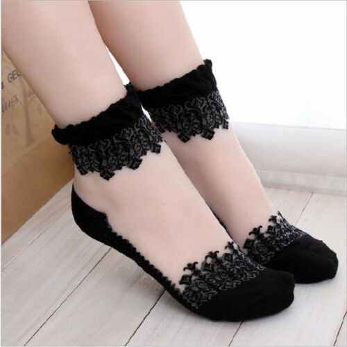 Women Casual Cute Ankle High Low Cut Ultrathin Invisible Silk Crystal Lace Socks