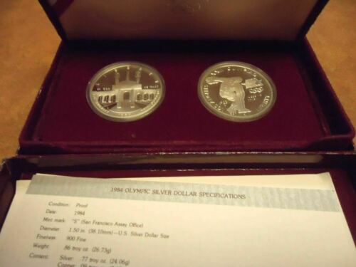 1983-1984 Olympic Silver Dollar 2 Coin Set Proof