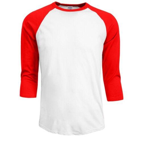 S-2XL Men/'s Raglan 3//4 Sleeve Baseball Plain Tee Jersey Team Sports T-Shirt New