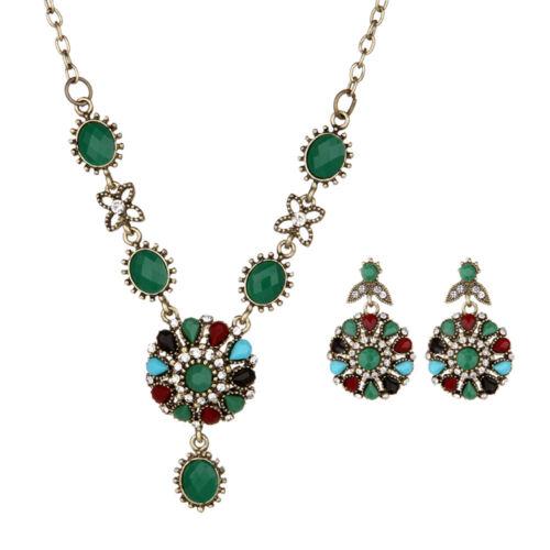 Women Fashion Crystal Jewelry Choker Chunky Statement Bib Pendant Chain Necklace