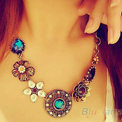 Women's Simple Gorgeous Rhinestone Hollow Flower Teardrop Statement Necklace