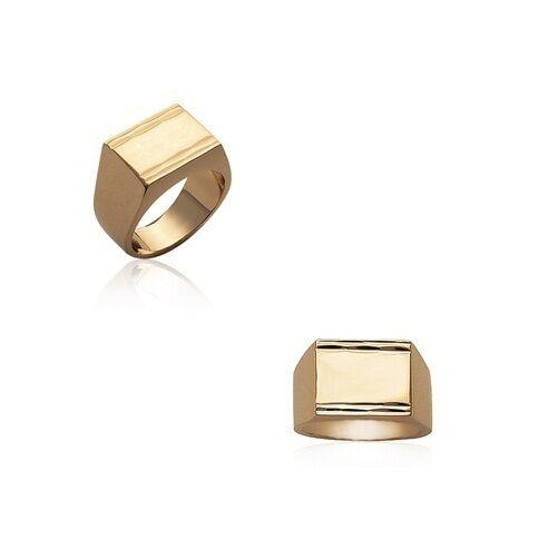 anillo sello Cuadrado 3 HOMBRE chapado en oro de nueve a elegir