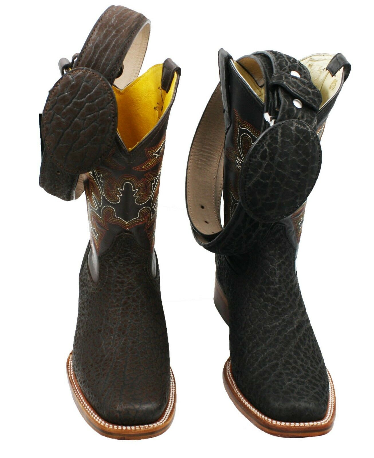 Men Genuine Cowboy Western Square Toe Bull Leather BOOTS - With Free Belt