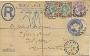 GB-POSTAGE-RATES-1901-QV-11-D-Registered-Postal-Stationery-LONDON-to-MANCHESTER
