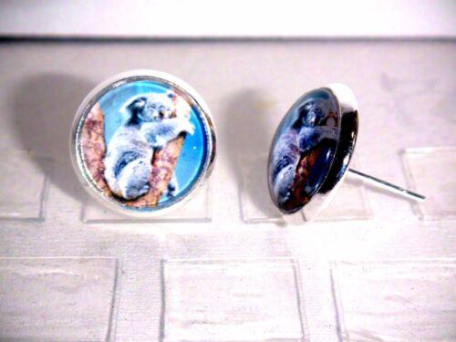Ohrstecker Koala Tiere Damen Ohrringe Ohrschmuck Modeschmuck Glas Cabochon Blau