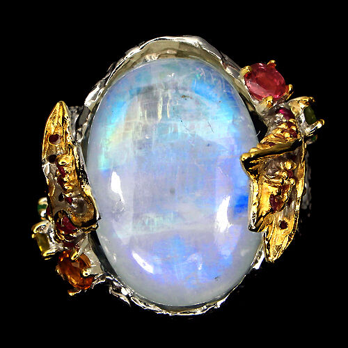 Handmade 20ct Fire Blue Luster Moonstone Ruby Tourmaline 925 Silver Ring Size 8