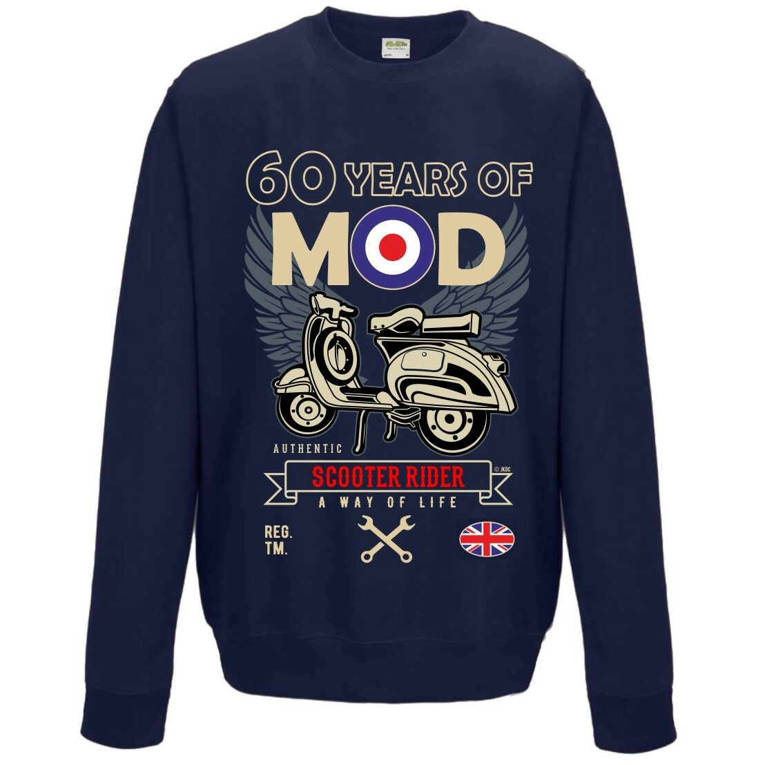 60 Years Of Mod 60° Compleanno Rétro Scooter Rider Unisex Felpa Maglioncino