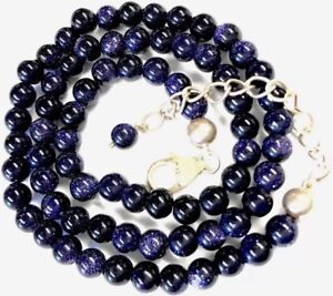 Pretty-Sterling-Silver-Blue-Goldstone-Sparkly-Bead-Necklace-GIFT-BOXED