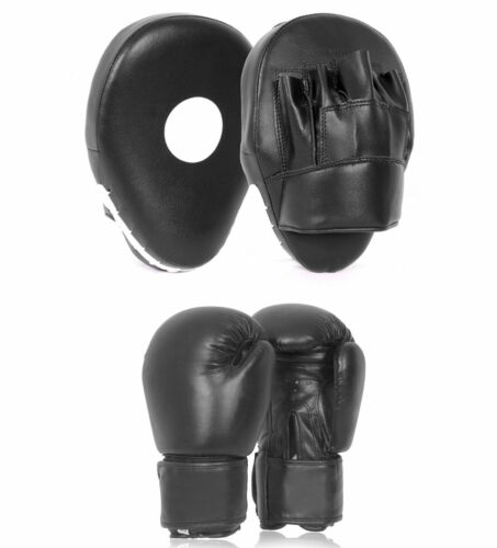 Curved Focus Pads and Boxing Gloves Set Hook /& Jabs Punching Mitts MMA Gym Fight