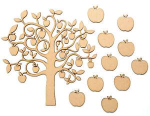 Wooden-MDF-Tree-Apple-Tree-Shape-Family-Tree-Wedding-Teacher-Gift-Plus-10-Apples