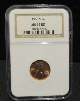 1955-S NGC MS66 RED Lincoln Wheat Cent!! #FJ