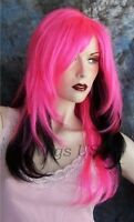 Long Wig Hot Pink Over Black Long Layers 26 Face Frame No Bangs Wigs Us