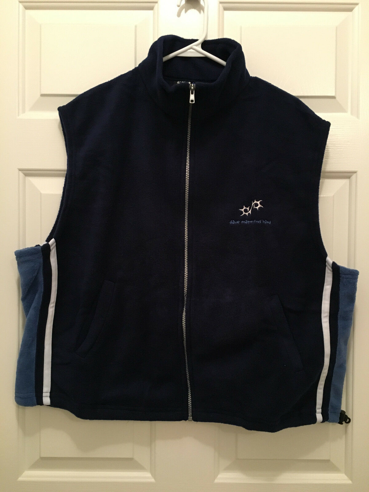 New Dave Matthews Band DMB Tour Blau and Weiß Fleece Vest Large