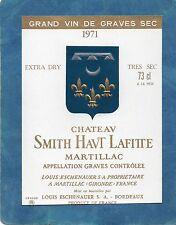 GRAVES GCC VIEILLE ETIQUETTE CHATEAU SMITH HAUT LAFITTE 1971 EXTRA DRY§12/03/17§