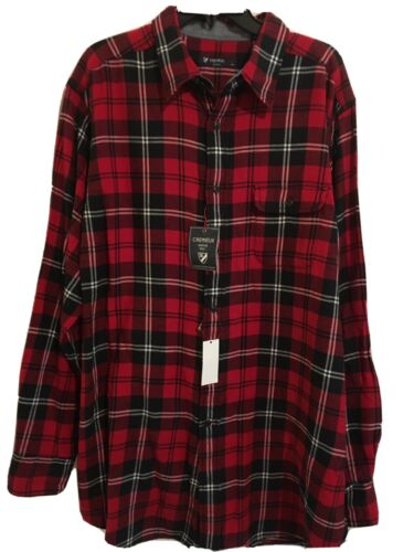 Cremieux Men/'s Flannel Shirt Sz XLT 2XLT 4XLT Red Black Plaid Tall NWT