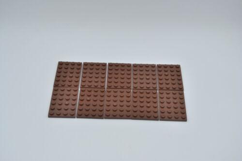 LEGO 10 x Basisplatte 4x6 rotbraun reddish brown basic plate 3032 4271874