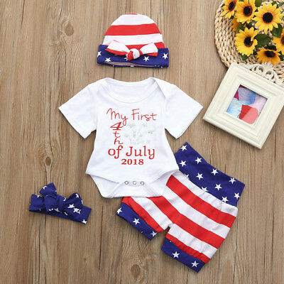 4PCS My First 4th of July Newborn Baby Boy Girl Summer Short Sleeve Romper Striped Star Shorts Hat Headband Outfit Set