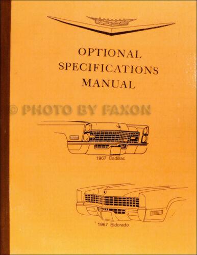 1967 Cadillac Optional Specifications Book 67 Deville Eldorado Fleetwood Calais