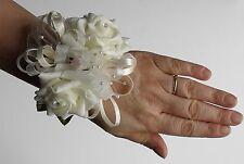 Wedding Artificial Ivory Rose flower Diamante Pearl  Bridesmaid Wrist Corsage