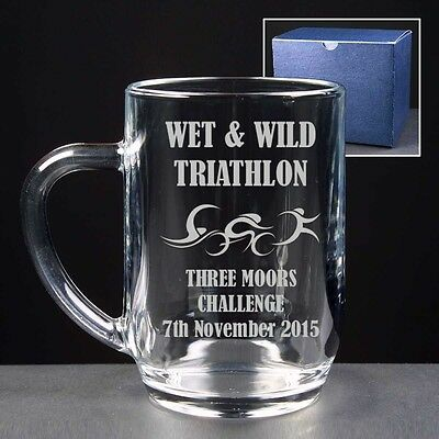 Personalised Engraved Glass Tankard Triathlon Swimming Running Trophy Award