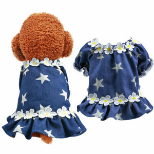 New Pet Dog Dress Shirt Clothes Puff Sleeve Star Denim Egg Flower Cardigan Skirt