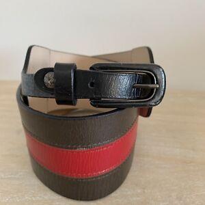 Saba-Women-039-s-Red-Stripe-Genuine-Leather-Cummerbund-Style-Belt-XS