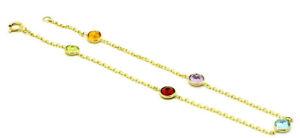 14K Yellow Gold Round Shape Bracelet With Gemstone 8 Inches