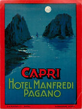 Hotel Manfredi Pagano ~CAPRI ITALY~ Beautiful Old RICHTER Luggage label, 1940