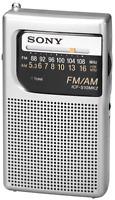 Brand Sony Pocket Am/fm Radio Handheld Portable Travel Size Handheld Silver