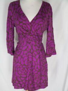 Boden-Purple-Dark-Olive-Surplice-Knit-Dress-US-8-UK-12-Cummerbund