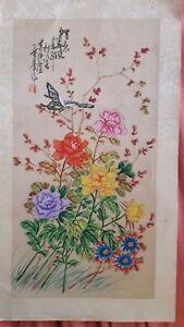 Estampe-japonaise-originale-et-signee-034-Papillon-sur-bouquet-de-fleurs-034-1900