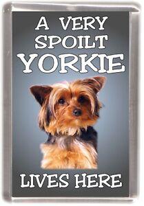 Yorkshire-Terrier-Fridge-Magnet-034-A-VERY-SPOILT-YORKIE-LIVES-HERE-034-by-Starprint