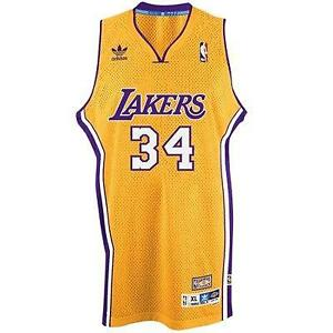 ddd2ff8eda5 New NBA LA Lakers Shaquille O'Neal #34 Hardwood Classic Yellow ...