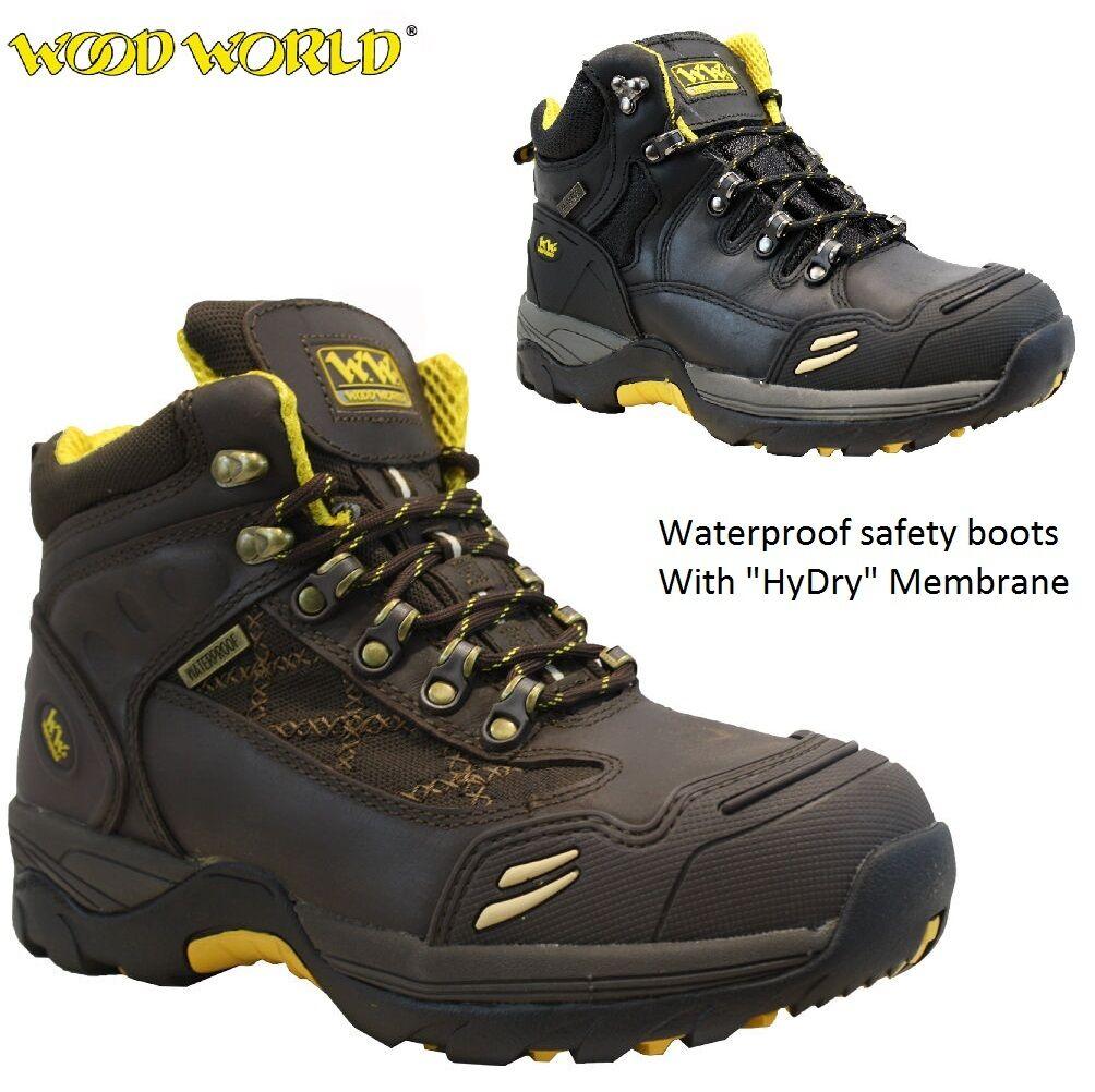 Mens WOOD WORLD Leather Waterproof Safety Steel Toe Cap Hiker Work Stiefel SZ 6-13