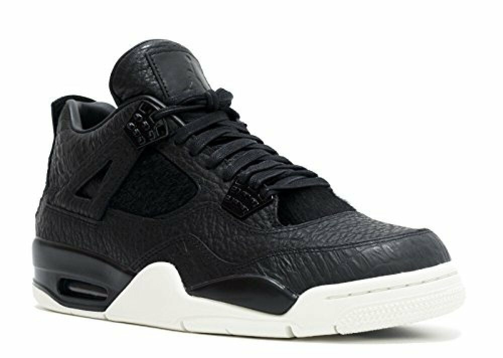 NIKE Mens Air Jordan 4 Retro Premium Pinnacle Black Sail Leather