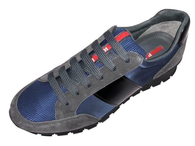 NEW PRADA MEN'S CURRENT TECHNO BLUE SUEDE GRAY LOGO SNEAKERS SHOES 7.5/US 8.5