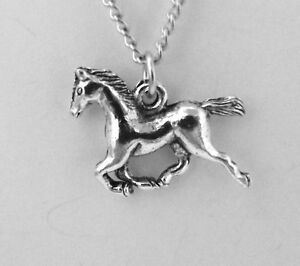 Child-039-s-Pewter-Running-Horse-Pendant-on-a-Link-Chain-Necklace-0885