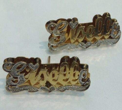 Personalized 14Kt Gold Over Silver Double Plated Name Earrings