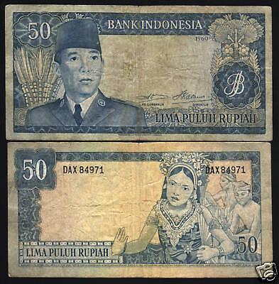 INDONESIA 500 RUPIAH P-87 a 1960 3 Let SUKARNO DANCER DE LA RUE CURRENCY NOTE